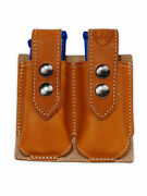 New Barsony Tan Leather Double Magazine Pouch For Springfield Compact 9mm 40 45