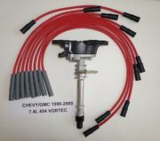 Chevy/gmc Truck Vortec 1996-2000 7.4l 454 Distributor And Red Spark Plug Wires Usa