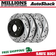 Front And Rear Drilled Slotted Disc Brake Rotors Set Of 4 For Honda Civic 2.4l