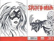 Superior Foes Of Spiderman 1 Blank Rare Df Signed Remarked Black Cat Sketch