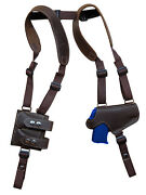 Brown Leather Thumb Break Shoulder Holster W/mag Pouch Kahr Beretta Comp 9mm 40