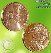 Debt And Death/freedom Girl 1 Oz .999 Copper Round Very Limited And Rare