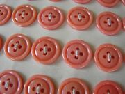 Vintage Buttons - 36 Peach Casein 4-hole British Flat Back Raised Buttons