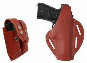 New Burgundy Leather Pancake Holster + Dbl Mag Pouch Browning Colt Full Size 9mm