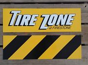 Firestone Tire Zone Store Plastic Yellow Signs Vintage Authentic 11x36 Man Cave
