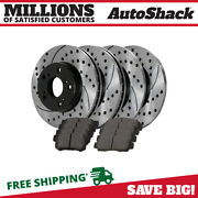 Front And Rear Performance Drilled Slotted Brake Rotors And Semi Metallic Pads Kit