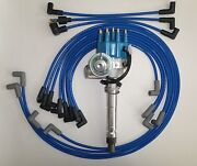 Small Block Chevy Blue Small Cap Hei Distributor, Spark Plug Wires Under Exhaust