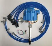 Small Block Chevy Blue Hei Distributor, 8mm Spark Plug Wires Under Exhaust Manif