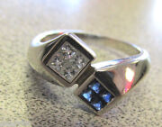 Invisible Set Princess Cut Blue Sapphires And Diamond Ring 14k Wg Make Offer