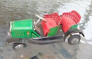 Old Green Red Painted Tin Friction Automobile Toy