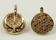 Set Of 2 Ring And Earrings 9k Solid Gold Multi-coloured Sapphires Handmade