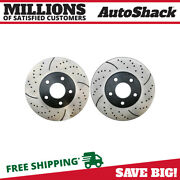 Front Drilled Slotted Disc Brake Rotors Pair 2 For Chevy Impala Buick Lesabre V6