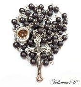 Hematite Rosary Beads Necklace Blessed In Holy Sepulcher Church Religious Gift