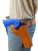New Barsony Saddle Tan Leather Cross Draw Gun Holster For Colt 4 Revolvers