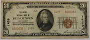 1929 Us 20 National Banknote Type 2 Frenchtown Nj Ch 1459 Circulated Bill