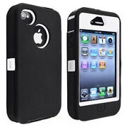 Hybrid White Hard Black Rubber Silicone Case Skin For Apple Iphone 4 4g 4s