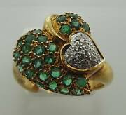 18kt Yellow Gold 2.13cttw Emerald And Diamond Hearts Ring Size 7 42r 140-10358