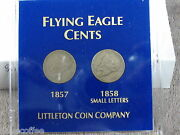 1857-1858 Pair Flying Eagle Cents-nice Acrylic Holder-free Shipping