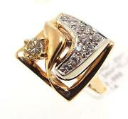 14kt Yellow Gold .59 Cttw Yellow And White Diamond Square Ring Sz 8 W2 20-10174