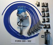 Ford 289 302 Blue Small Cap Hei Distributor +45k Coil+universal Spark Plug Wires