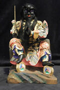 Temple Sized Heavenly Marshal Zhang Opulent Taoist Solid Wood Gold Gilt 20 Th C.