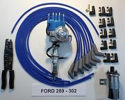 302 289 Ford Blue Small Hei Distributor + Chrome Coil +universal Plug Wires+tool