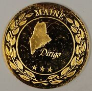 Gold Plated Sterling Silver Proof Medal Maine Dirigio In Plastic Case