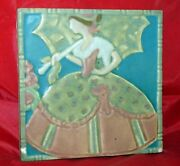 Scarce 1880's Rookwood White Clay Tile Art Pottery Victorian Lady W/ Umbrella