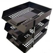 Black In Out Letter Trays And Risers Filing Stacking Desk Organiser Storage Tidy