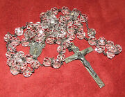 Antique Signed Sterling Silver And Cut Glass Crystal Jesus Rosary Made In Italy