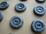 Vintage Buttons - 24 Iron Gray 2-hole 5/8 Casein Carved Buttons - France