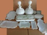 Collection Milk Glass Decanters Plates Boxes 11 Pieces