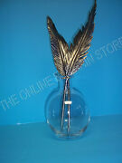 Pottery Barn Antique Vintage Silver Feather Jewelry Inkwell Quill Paris French