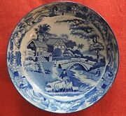 Large Antique Pearlware Plate Blue And White Transferware Bowl Saucer 19th C. 1825