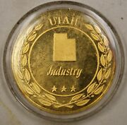 Gold Plated Sterling Silver Proof Medal Utah