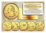 2004 Us Statehood Quarters 24k Gold Plated 5-coin Complete Set W/capsules