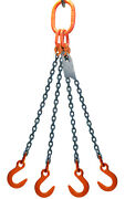 Chain Sling - 3/8 X 5' Quad Leg With Foundry Hook - Grade 80