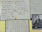 3x Rare Hand Written And Signed Sir Benjamin C. Brodie Letter Document Autograph