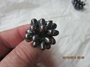 Fancy Bling Ring With Upright Irridescent Stones   Unusual Piece