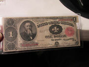 1891 1 Large Size Treasury Note High Range Condition Beautiful Note  Fr351