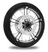 Performance Machine 21 Front Black Dixon Wheel Tire Rotor Package Harley 14-15