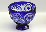 Large Crystal Bowl /fruit Vase 21x24 Cm Blue Cut To Clear Overlay Russia New