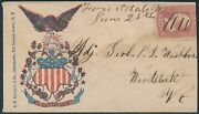 65 Ms Pen Cnl On Civil War Patriotic Cover By Rickards To Woodstock Vt Bs1187