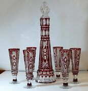Cased Crystal Decanter And6 Goblets H53cm Ruby Red Cut To Clear Overlay Russia New