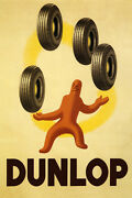 Best Tires Pneus Dunlop Strong Rubber In The World Vintage Poster Repro Free S/h