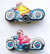Modern Toys Japan Blue + Silver Racing Motorcycle 9cm Tin Friction Toy Nice`68