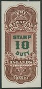 Hawaii R5p3 10 Stamp Duty Plate Proof On India Xf-superb Gem Hv9108