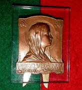Virgo Virginum / Our Lady / Bronze Medal On Glass Frame By L. De Helly