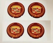 4 New Cadillac Appliance Fwd 2 7/8 Burgundy And Gold Wire Wheel Emblems