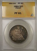 1884 Proof Seated Liberty Silver Half Dollar 50c Anacs Pf-61 Better Coin